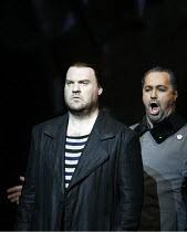 THE FLYING DUTCHMAN (Der Fliegende Hollander) by Wagner   ,conductor: Carlo Rizzi   director: David Pountney,l-r: Bryn Terfel (The Dutchman), Gidon Saks (Daland),Welsh National Opera / Wales Millenniu...