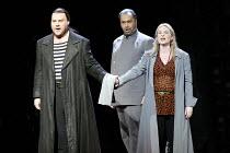 THE FLYING DUTCHMAN (Der Fliegende Hollander) by Wagner   conductor: Carlo Rizzi   director: David Pountney~l-r: Bryn Terfel (The Dutchman), Gidon Saks (Daland), Annalena Persson (Senta),Welsh Nationa...