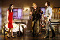FOOL FOR LOVE   by Sam Shepard   director: Lindsay Posner,l-r: Juliette Lewis (May), Larry Lamb (Old Man), Joe Duttine (Martin), Martin Henderson (Eddie),Apollo Theatre, London W1          15/06/2006,