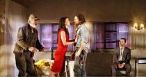 FOOL FOR LOVE   by Sam Shepard   director: Lindsay Posner,l-r: Larry Lamb (Old Man), Juliette Lewis (May), Martin Henderson (Eddie), Joe Duttine (Martin),Apollo Theatre, London W1          15/06/2006,