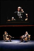 FROST/NIXON   by Peter Morgan   director: Michael Grandage,l-r: Michael Sheen (David Frost), Frank Langella (Richard Nixon),with Nixon^s image relayed in real time across 36 TV screens,Donmar Warehous...