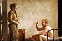 HARVEST   by Richard Bean   director: Wilson Milam,Sian Brooke (Laura), Jochum Ten Haaf (Stefan),Jerwood Theatre Downstairs / Royal Court Theatre, London SW1                 08/09/2005,