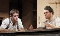 HARVEST   by Richard Bean   director: Wilson Milam,l-r: Gareth Farr (Albert), Matthew Dunster (William),Jerwood Theatre Downstairs / Royal Court Theatre, London SW1                 08/09/2005,