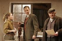 HARVEST   by Richard Bean   director: Wilson Milam,l-r: Sian Brooke (Laura), Dickon Tyrrell (Lord Primrose Agar), Mike Burnside (Lewis),Jerwood Theatre Downstairs / Royal Court Theatre, London SW1...