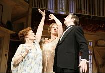 HAY FEVER   by Noel Coward   director: Peter Hall,l-r: Judi Dench (Judith Bliss), Kim Medcalf (Sorel Bliss), Dan Stevens (Simon Bliss),Theatre Royal Haymarket, London SW1                        20/04/...