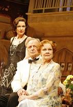 l-r: Belinda Lang (Myra Arundel), Peter Bowles (David Bliss), Judi Dench (Judith Bliss) in HAY FEVER by Noel Coward at the Theatre Royal Haymarket, London SW1  20/04/2006 ~design: Simon Higlett  light...