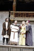 IN EXTREMIS   by Howard Brenton   director: John Dove,l-r: Oliver Boot (Abelard), Colin Hurley (Louis VI), Sally Bretton (Heloise), Fred Ridgeway (Fulbert),Shakespeare's Globe, London SE1...