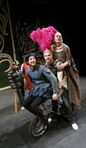 THE KNIGHT OF THE BURNING PESTLE   by Francis Beaumont   director: Anna Mackmin,on bike, l-r: Robert Galas (Michael), Rafe Spall (Rafe), Tim Potter (Mistress Merrythought),Mercury Theatre / Young Vic...