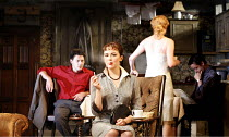 LOOK BACK IN ANGER   by John Osborne   director: Peter Gill ~l-r: Richard Coyle (Jimmy Porter), Rachael Stirling (Helena Charles), Mary Stockley (Alison Porter), Richard Harrington (Cliff Lewis) ~Thea...