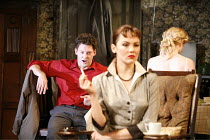 LOOK BACK IN ANGER   by John Osborne   director: Peter Gill ~l-r: Richard Coyle (Jimmy Porter), Rachael Stirling (Helena Charles), (back to camera) Mary Stockley (Alison Porter) ~Theatre Royal Bath /...