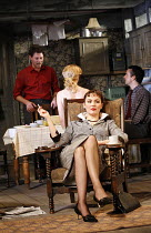 LOOK BACK IN ANGER   by John Osborne   director: Peter Gill ~l-r: Richard Coyle (Jimmy Porter), (back to camera) Mary Stockley (Alison Porter),Rachael Stirling (Helena Charles), Richard Harrington (Cl...