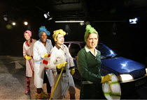 LYSISTRATA   by Aristophanes   translated & adapted by Ranjit Bolt     director: Sarah Esdaile,l-r: Laura Elphinstone, Tanya Moodie, Rosanna Lavelle, Leandra Lawrence,Arcola Theatre, London E8...