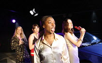 LYSISTRATA   by Aristophanes   translated & adapted by Ranjit Bolt     director: Sarah Esdaile,l-r: Leandra Lawrence, Laura Elphinstone, Tanya Moodie, Rosanna Lavelle,Arcola Theatre, London E8...