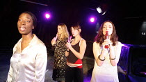 LYSISTRATA   by Aristophanes   translated & adapted by Ranjit Bolt     director: Sarah Esdaile,l-r: Tanya Moodie, Leandra Lawrence, Laura Elphinstone, Rosanna Lavelle,Arcola Theatre, London E8...