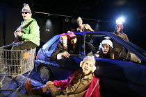 LYSISTRATA   by Aristophanes   translated & adapted by Ranjit Bolt     director: Sarah Esdaile,l-r: Pete McCamley, Joseph Attenborough,  Jason Morell   behind car: Laura Elphinstone, Rosanna Lavelle...