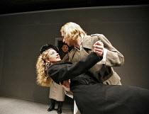 THE NIGHT BEFORE THE TRIAL   by Chekhov   director: Jeremy Bond,l-r: Natalie Walter (Zinochka), (rear) Richard Earthy (Gusev), Keiran Leonard (Zaytsev),^A Shot of Genius^ / Sound Theatre, London W1...