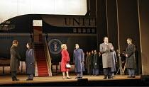 NIXON IN CHINA   music: John Adams   libretto: Alice Goodman   conductor: Paul Daniel   director: Peter Sellars,Act I/i - the Nixon entourage arrives in Bejing - l-r: Roland Wood (Henry Kissinger), Re...