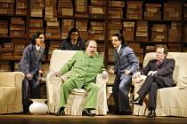 l-r: Serena Kay (Nancy T'ang, First Secretary to Mao), Rebecca de Pont Davies (Third Secretary to Mao), Adrian Thompson (Mao Tse-tung), Alexandra Sherman (Second Secretary to Mao), James Maddalena (Ri...