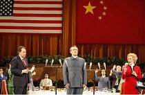 NIXON IN CHINA   music: John Adams   libretto: Alice Goodman   conductor: Paul Daniel   director: Peter Sellars,Act I/iii - front l-r: James Maddalena (Richard Nixon), Mark Stone (Chou En-lai), Janis...