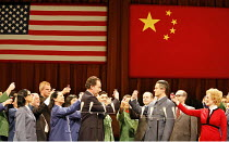 NIXON IN CHINA   music: John Adams   libretto: Alice Goodman   conductor: Paul Daniel   director: Peter Sellars,Act I/iii - front centre: James Maddalena (Richard Nixon), Mark Stone (Chou En-lai)   ri...