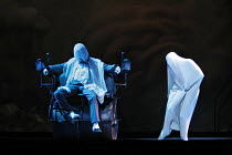 THE NOSE   by Dmitry Shostakovich   based on the story by Gogol   conductor: Valery Gergiev   director: Yury Alexandrov,at the barber - in the chair: Vladislav Sulimsky (Kovalev) with The Nose,Mariins...