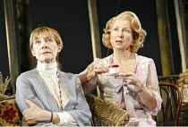 THE OLD COUNTRY  by Alan Bennett  set design: John Gunter  costumes: Mark Bouman  lighting: Ben Ormerod  director: Stephen Unwin <br>  l-r: Jean Marsh (Bron), Susan Tracy (Veronica)  English Touring...