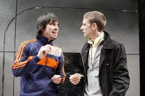 ON TOUR   by Gregory Burke   director: Matt Wilde,l-r: Jeff Hordley (H), Paul Anderson (Daz),Jerwood Theatre Upstairs / Royal Court Theatre, London SW1        11/10/2005,