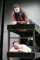 ON TOUR   by Gregory Burke   director: Matt Wilde,(above) Jeff Hordley (H)   (below) Paul Anderson (Daz),Jerwood Theatre Upstairs / Royal Court Theatre, London SW1        11/10/2005,