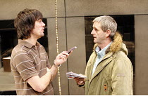 ON TOUR   by Gregory Burke   director: Matt Wilde,l-r: Jeff Hordley (H), Andrew Schofield (Ray),Jerwood Theatre Upstairs / Royal Court Theatre, London SW1        11/10/2005,