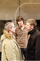 ON TOUR   by Gregory Burke   director: Matt Wilde,l-r: Andrew Schofield (Ray), Jeff Hordley (H), Paul Anderson (Daz),Jerwood Theatre Upstairs / Royal Court Theatre, London SW1        11/10/2005,