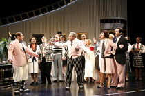 ONCE IN A LIFETIME   by Moss Hart & George Kaufman   director: Edward Hall,front, l-r: Adrian Scarborough (George Lewis), David Suchet (Herman Glogauer), Victoria Hamilton (May Daniels), Lloyd Hutchin...