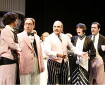 ONCE IN A LIFETIME   by Moss Hart & George Kaufman   director: Edward Hall,l-r: Victoria Hamilton (May Daniels), Adrian Scarborough (George Lewis), David Suchet (Herman Glogauer), Serena Evans (Miss L...