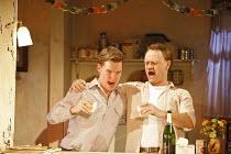 PERIOD OF ADJUSTMENT   by Tennessee Williams   director: Howard Davies,l-r: Benedict Cumberbatch (George Haverstick), Jared Harris (Ralph Bates),Almeida Theatre, London N1...