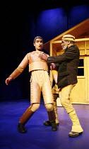 PINOCCHIO by Trish Cooke (book & lyrics) and Robert Hyman (music & lyrics)   director: Kerry Michael,l-r: Richard Sumitro (Pinocchio), Larrington Walker (Gepetto),Theatre Royal, Stratford E15...