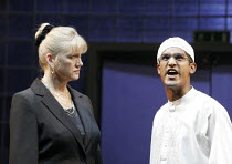 PLAYING WITH FIRE   by David Edgar   director: Michael Attenborough,Caroline Strong (Michele Purdy), Rudi Dharmalingham (Fazal Mansoor),Olivier Theatre / National Theatre, London SE1            21/09/...
