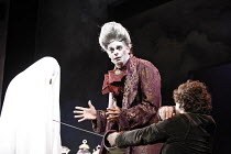 RESTORATION   by Edward Bond   director: Rupert Goold   design: Colin Richmond,Bob kills Ann, concealed under sheet - l-r: Dorothea Myer Bennett (Ann), Mark Lockyer (Lord Are), Mark Stobbart (Bob),Hea...