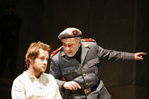 RESURRECTION BLUES   by Arthur Miller   director: Robert Altman,l-r: Peter McDonald (Stanley), Maximilian Schell (General Felix Barriaux),Old Vic Theatre, London SE1       02/03/2006,