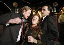 THE REVENGER^S TRAGEDY   by Middleton   in a new version by Meredith Oakes   director: Gavin McAlinden~l-r: Kris Marshall (Vindici), Linda Marlowe (Gratiana, their mother), James Howard (Hippolito)~So...