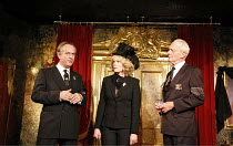 A RIGHT ROYAL FARCE   by Toby Young & Lloyd Evans   director: Alan Cohen,l-r: Andrew C. Wadsworth (Charles), Sara Crowe (Camilla), William Hoyland (Philip),King's Head Theatre, London N1...