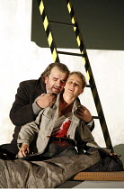 RIGOLETTO   by Verdi   conductor: Martin Andre   ,director, set & lighting designer: Charles Edwards,final scene, Gilda dies: Henriette Bonde-Hansen (Gilda), Alan Opie (Rigoletto),Opera North / Leeds,...