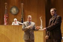 ROMANCE   by David Mamet   director: Lindsay Posner,l-r: John Mahoney (Judge), Colin Stinton (Defense Attorney), Nigel Lindsay (Defendant),Almeida Theatre, London N1                  14/09/2005,