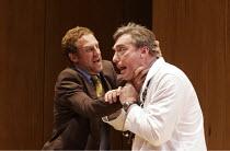 ROMANCE   by David Mamet   director: Lindsay Posner,l-r: Nigel Lindsay (Defendant), Nick Sampson (Doctor),Almeida Theatre, London N1                  14/09/2005,