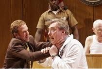ROMANCE   by David Mamet   director: Lindsay Posner,l-r, front: Nigel Lindsay (Defendant), Nick Sampson (Doctor)   rear: Geff Francis (Bailiff), John Mahoney (Judge),Almeida Theatre, London N1...