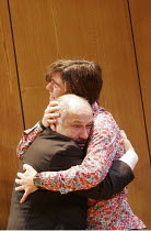 ROMANCE   by David Mamet   director: Lindsay Posner,front: Nicholas Woodeson (Prosecutor)   rear: Paul Ready (Bernard),Almeida Theatre, London N1                  14/09/2005,
