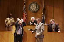 ROMANCE   by David Mamet   director: Lindsay Posner,l-r: Geff Francis (Bailiff), Nicholas Woodeson (Prosecutor), John Mahoney (Judge), Colin Stinton (Defense Attorney), Nigel Lindsay (Defendant),Almei...