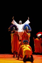 THE ROYAL HUNT OF THE SUN   by Peter Shaffer   director: Trevor Nunn,Act I/sc.12 - The Procession - centre: Paterson Joseph (Atahuallpa, Sovreign Inca of Peru),Olivier Theatre / National Theatre, Lond...