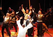 THE ROYAL HUNT OF THE SUN   by Peter Shaffer   director: Trevor Nunn,Act I/sc.12 - The Massacre - centre, from front: Paterson Joseph (Atahuallpa, Sovreign Inca of Peru), Alun Armstrong (Francisco Piz...