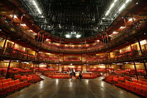 HENRY VI  by Shakespeare   director: Michael Boyd   opening production in~Courtyard Theatre - interior view of thrust stage & auditorium from rear of stage~part of RSC ^The Complete Works^ Festival -...