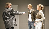 THE RUFFIAN ON THE STAIR   by Joe Orton   director: Jeremy Bond,l-r: Martin Jenkins (Mike), Keiran Leonard (Wilson), Natalie Walter (Joyce),^A Shot of Genius^ / Sound Theatre, London W1...