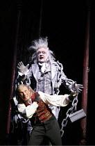 SCROOGE   based on ^A Christmas Carol^ by Dickens   book, music & lyrics: Leslie Bricusse   director: Bob Tomson,l-r: Tommy Steele (Ebenezer Scrooge, Barry Howard (Jacob Marley),London Palladium, Lond...